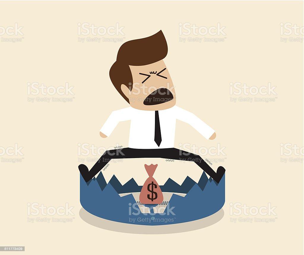 Businessman is  standing over mount trap vector art illustration