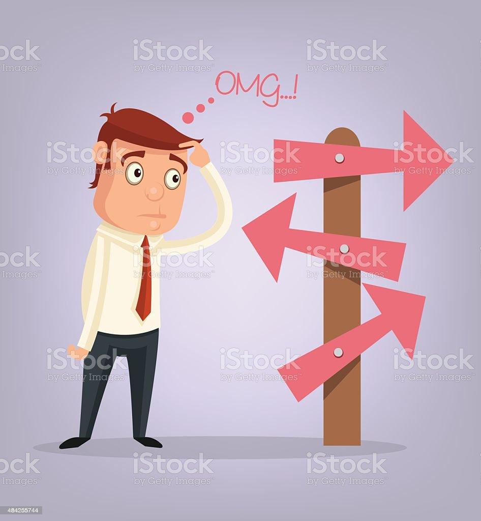 Businessman is thinking. Vector cartoon flat illustration vector art illustration