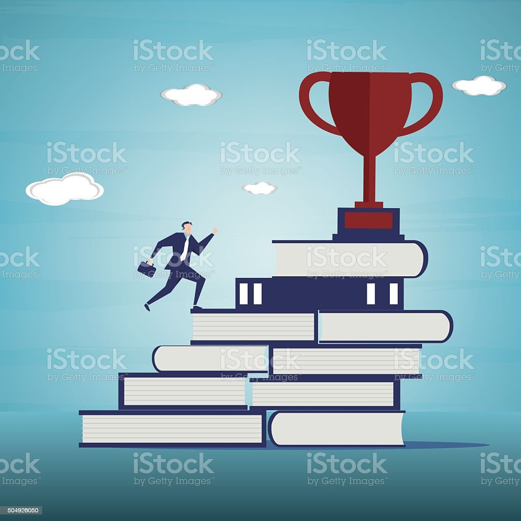 Businessman is walking on ladder to trophies vector art illustration