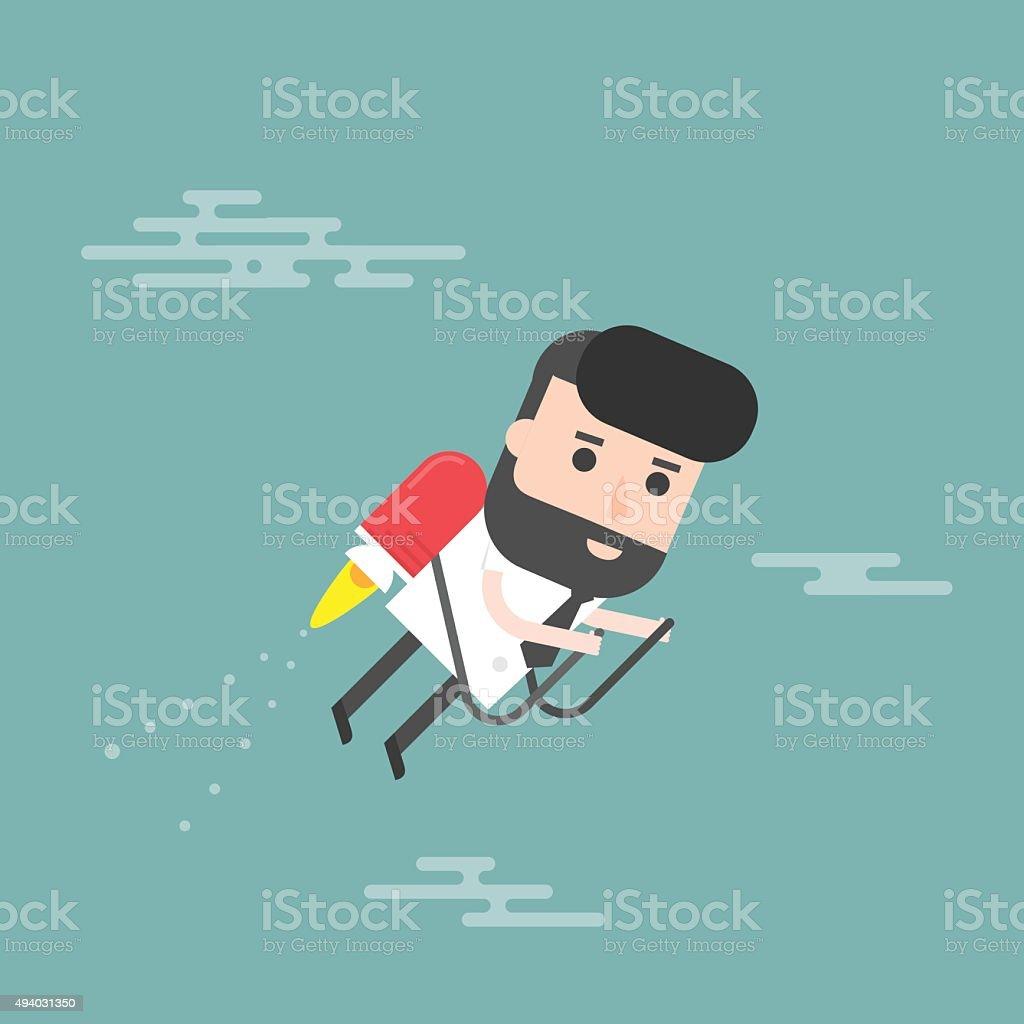Businessman Jet. Concept Of The Fast Success. vector art illustration