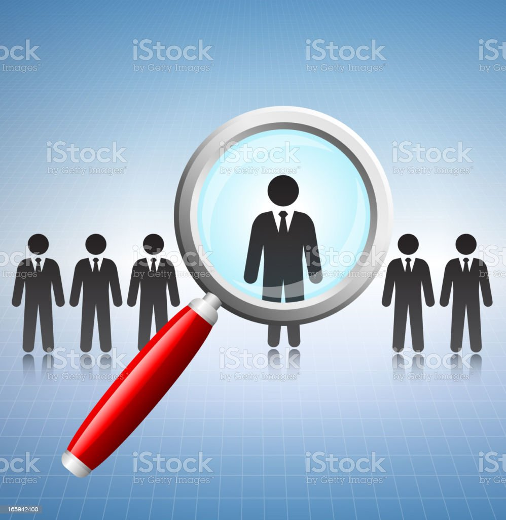 Businessman Job Search Concept with Stick Figures royalty-free stock vector art