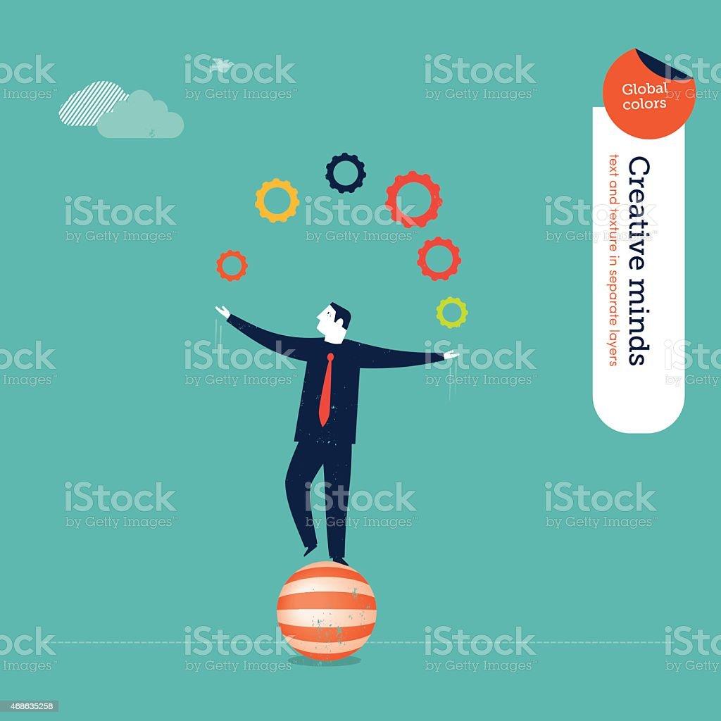Businessman juggler with gears vector art illustration