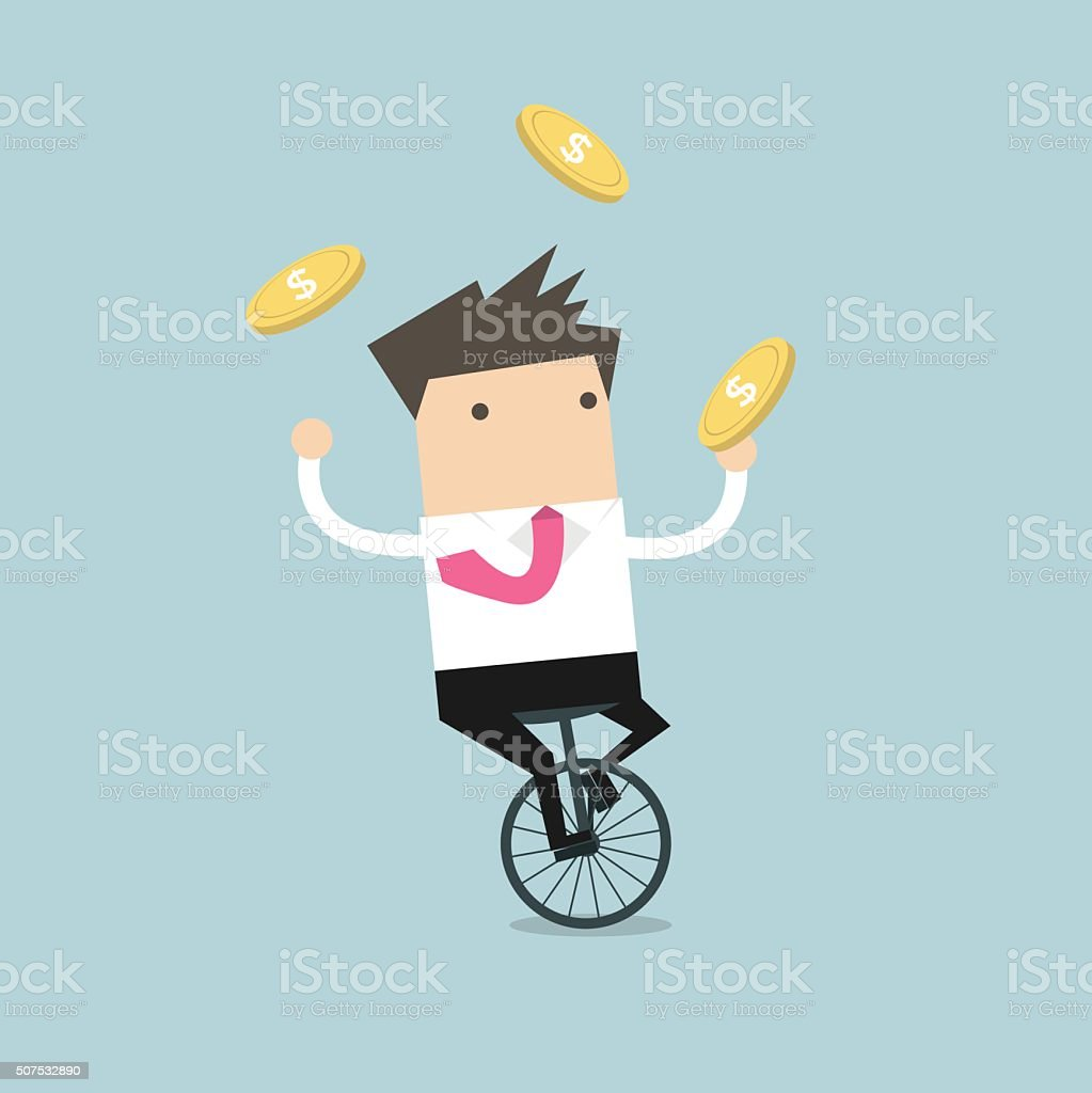 Businessman juggling coin while cycling vector art illustration