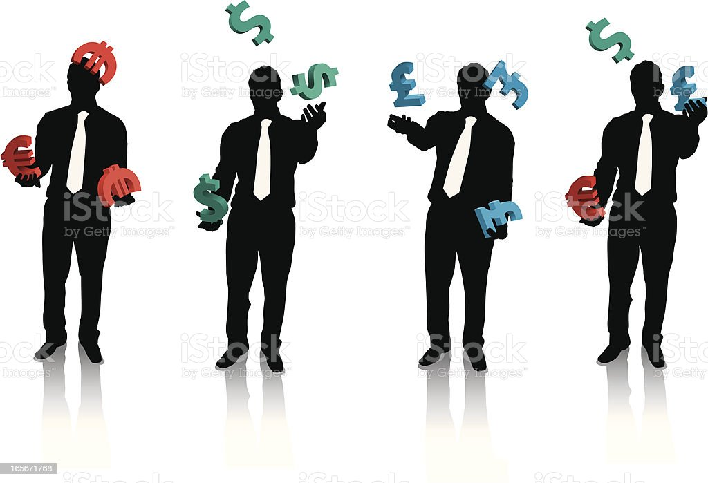 Businessman Juggling currency royalty-free stock vector art