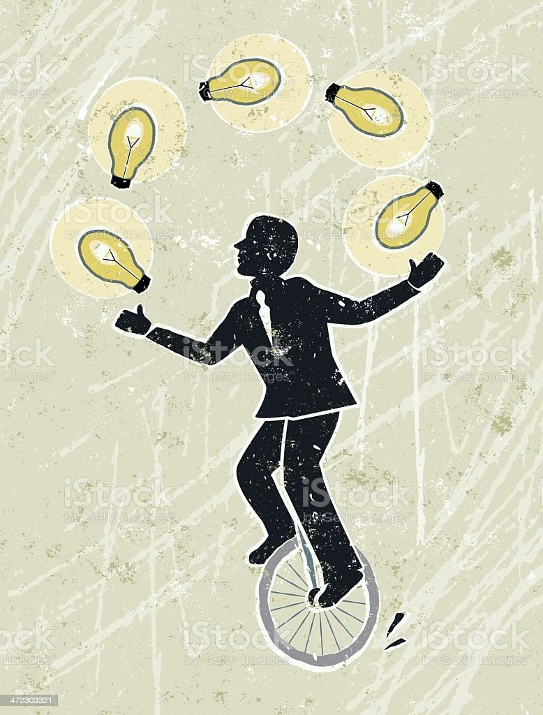 Businessman Juggling Idea Light Bulbs on Unicycle royalty-free stock vector art