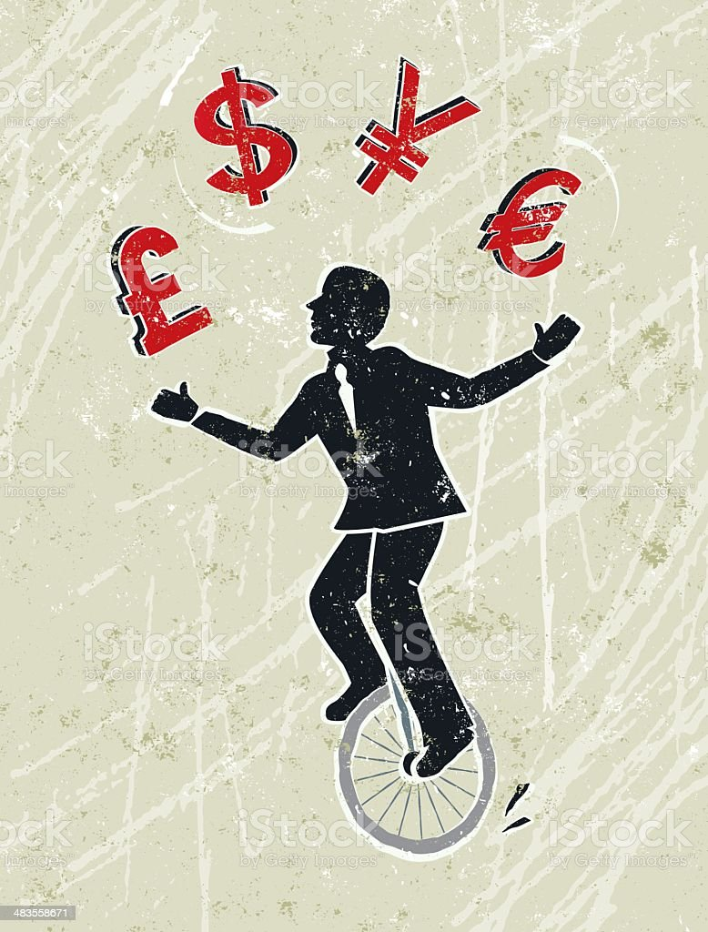 Businessman Juggling Pound, Dollar, Yen and Euro Icons on Unicycle vector art illustration