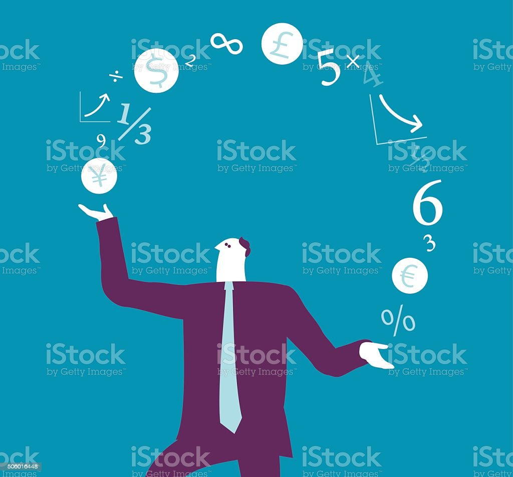 Businessman juggling with Finance sign vector art illustration