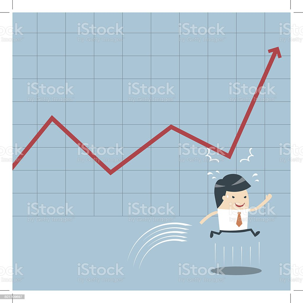 Businessman Jump and Graph royalty-free stock vector art
