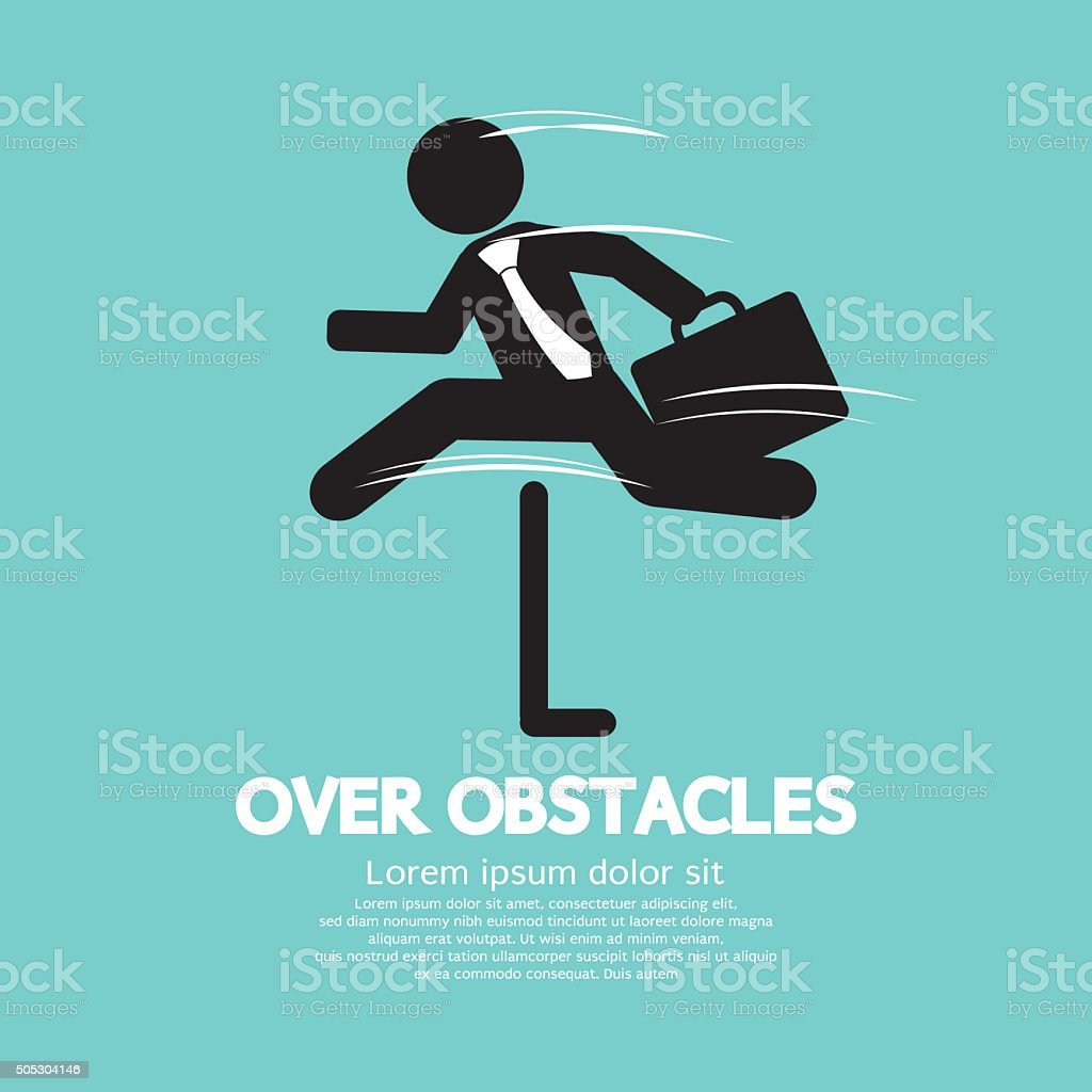 Businessman Jump Over The Obstacles Symbol. vector art illustration