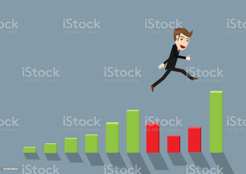 Businessman jump speed up chart and graph vector art illustration