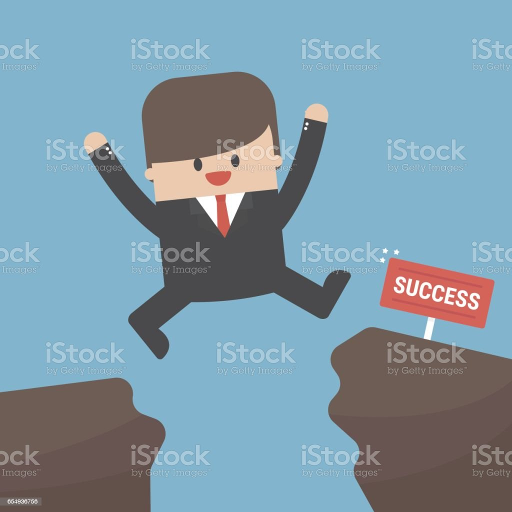 Businessman jump through the gap from one cliff to another vector art illustration