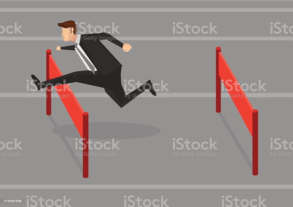 Businessman Jumping Hurdles Vector Illustration vector art illustration