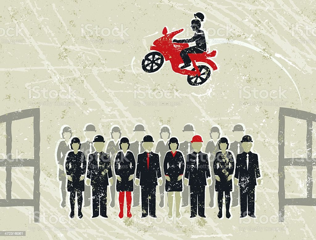 Businessman Jumping Motorcycle Over Business People royalty-free stock vector art