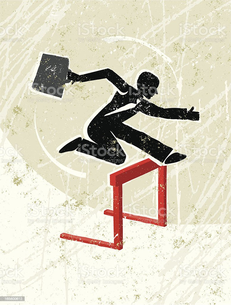 Businessman Jumping Over a Hurdle royalty-free stock vector art
