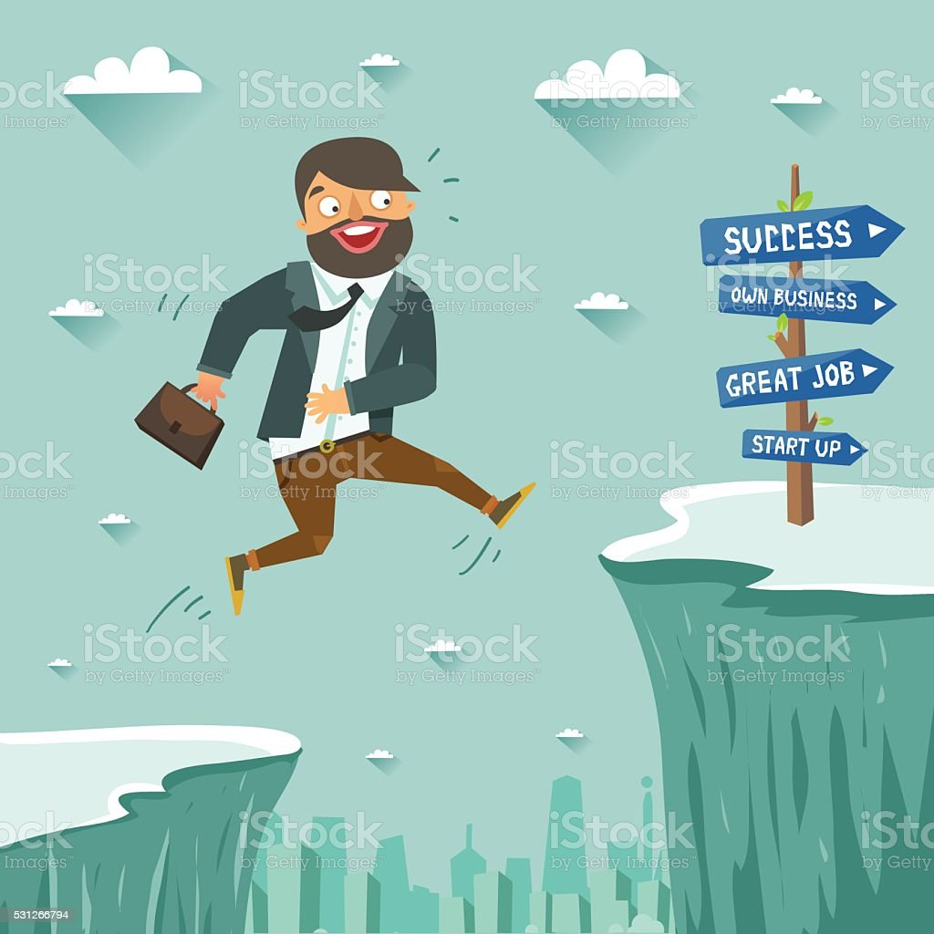 Businessman jumping over abyss or cliff to the better job vector art illustration
