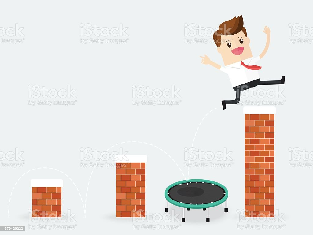 businessman jumping over block walls like crisis vector art illustration