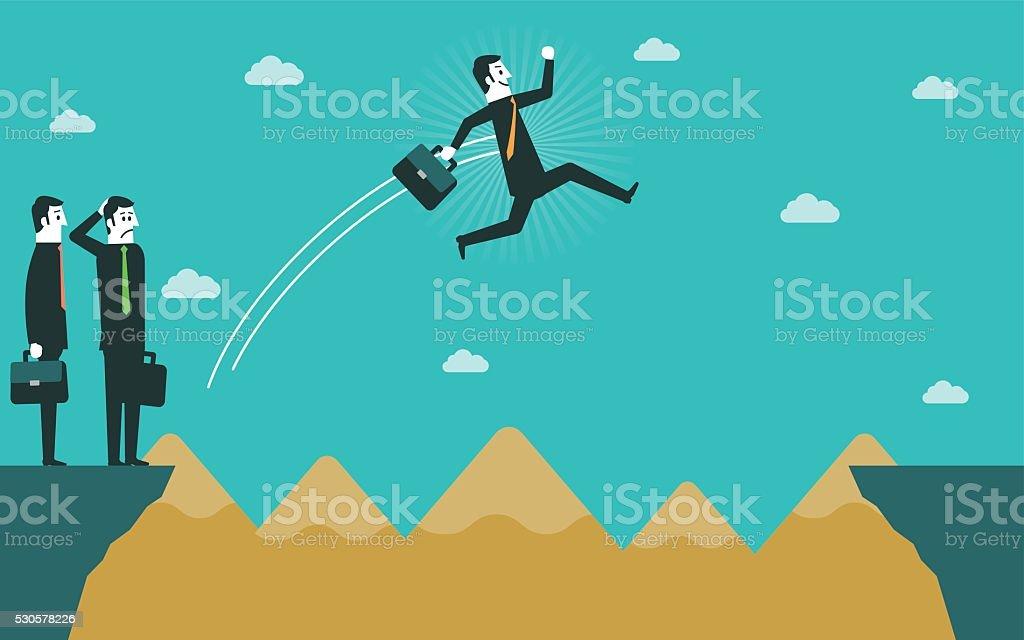 Businessman jumping over gap vector art illustration