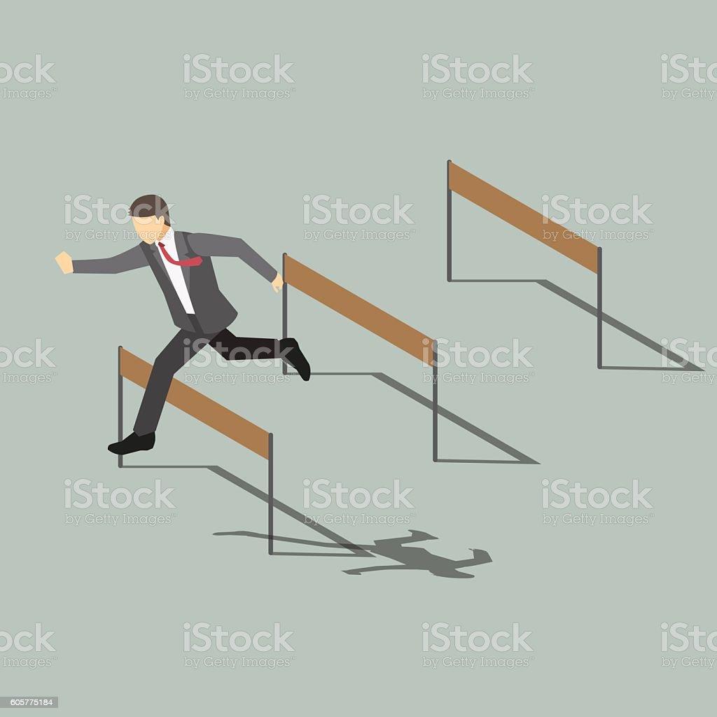 Businessman Jumping Over Hurdle ,Isometric cartoon character vector art illustration