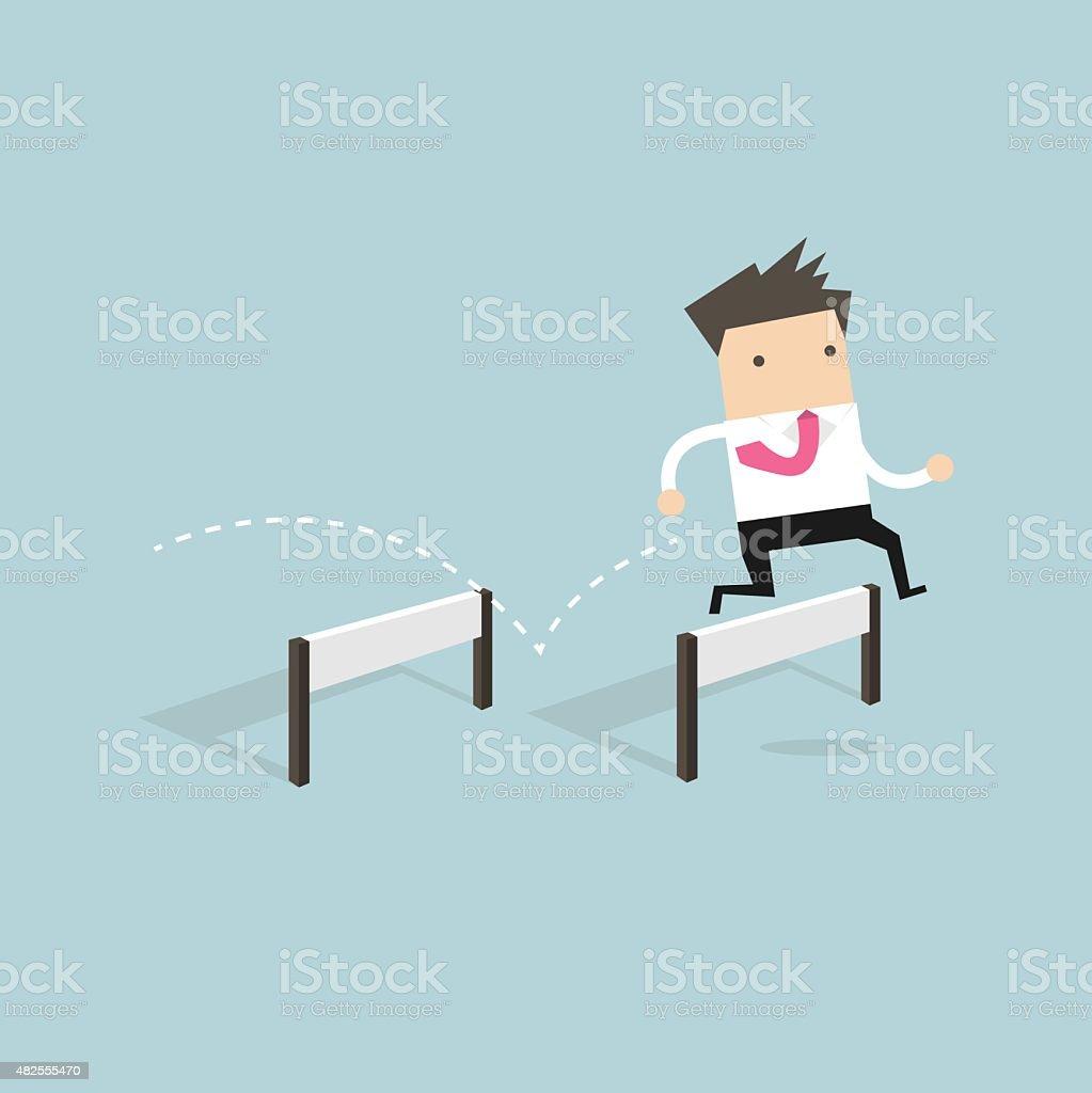 Businessman Jumping Over Hurdle vector art illustration