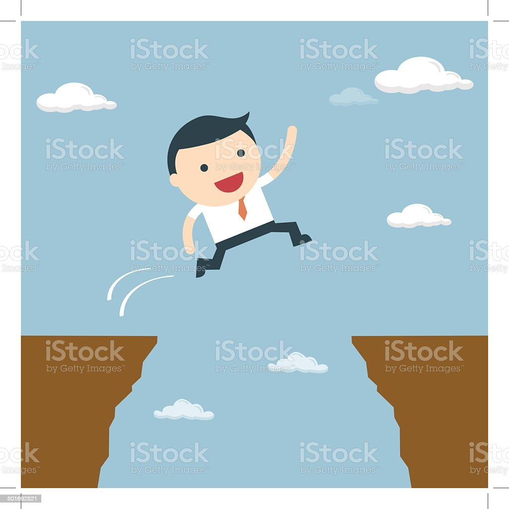 Businessman jumping over the cliff to goal royalty-free stock vector art
