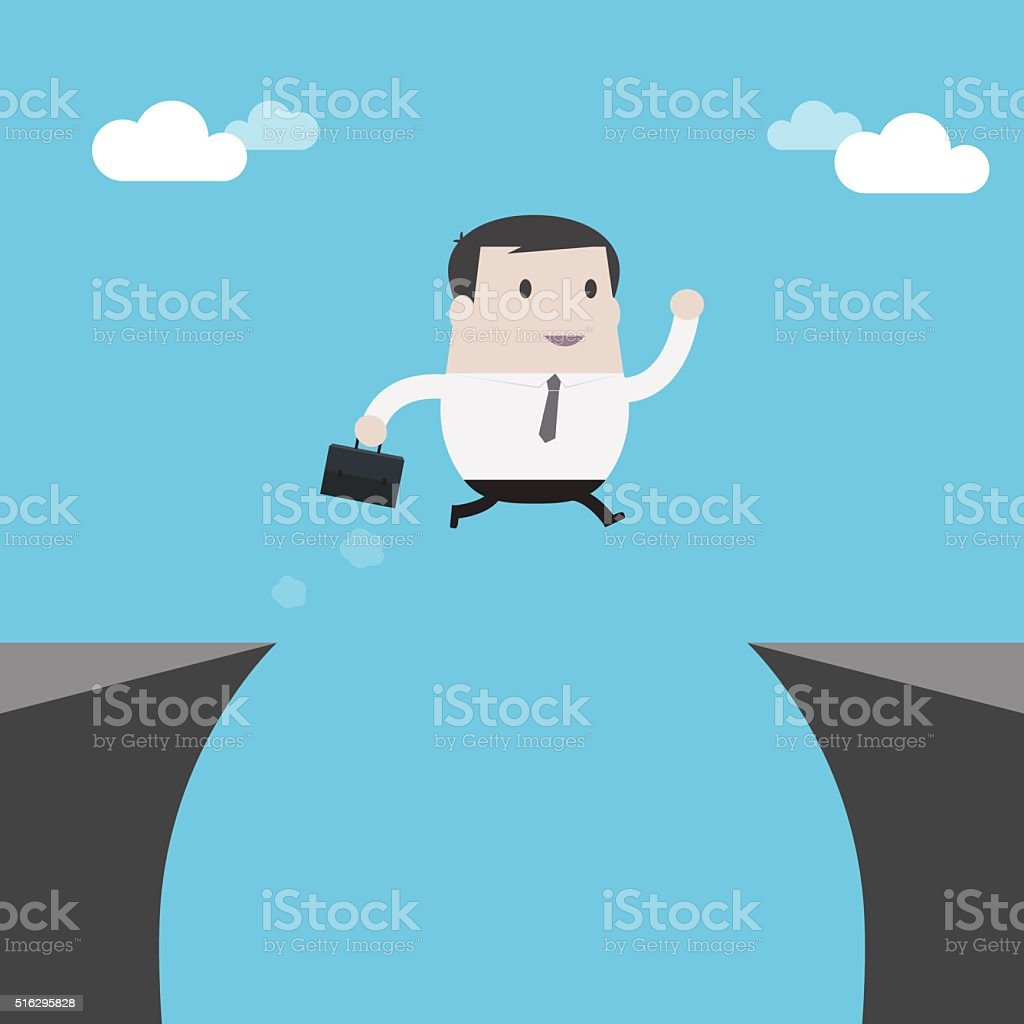Businessman jumping over the cliff - Vector vector art illustration