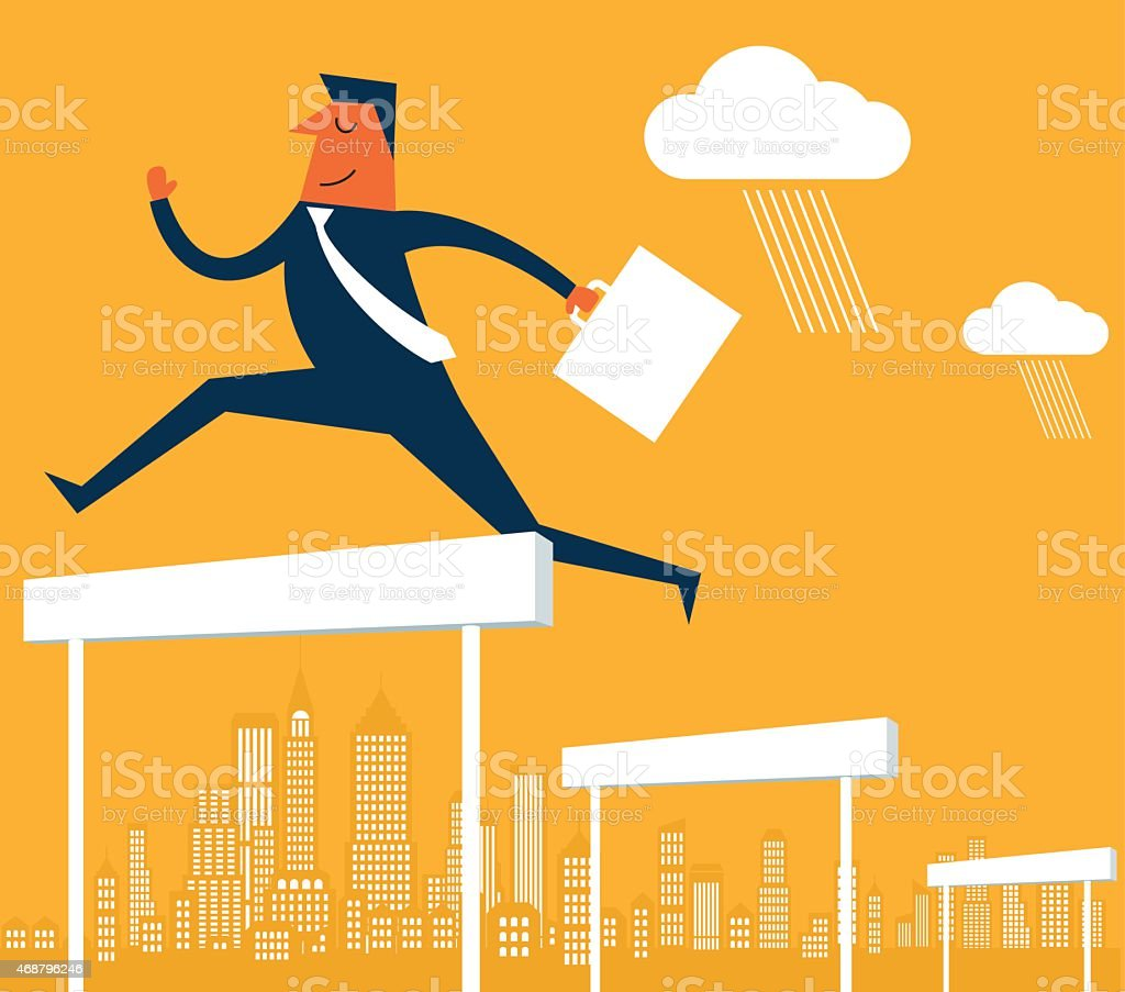 Businessman jumping over the hurdles vector art illustration