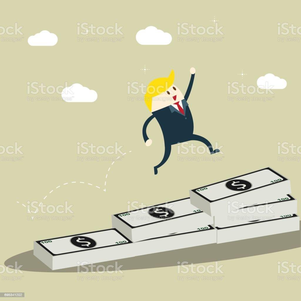 Businessman jumping through gap bar graph of banknote. Business Growth Concept ,creativity design vector. vector art illustration