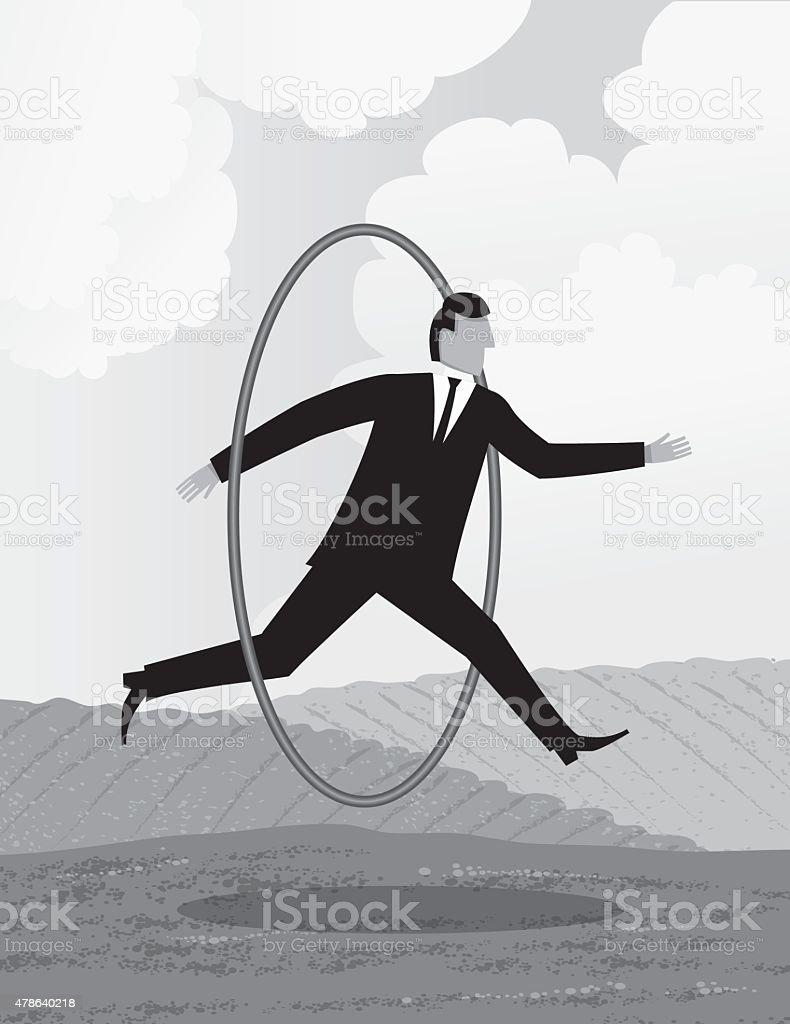 Businessman Jumping Through Hoop Greyscale Vertical Template vector art illustration