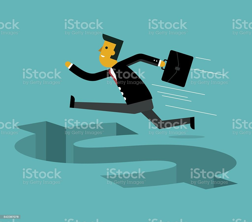 Businessman jumping vector art illustration