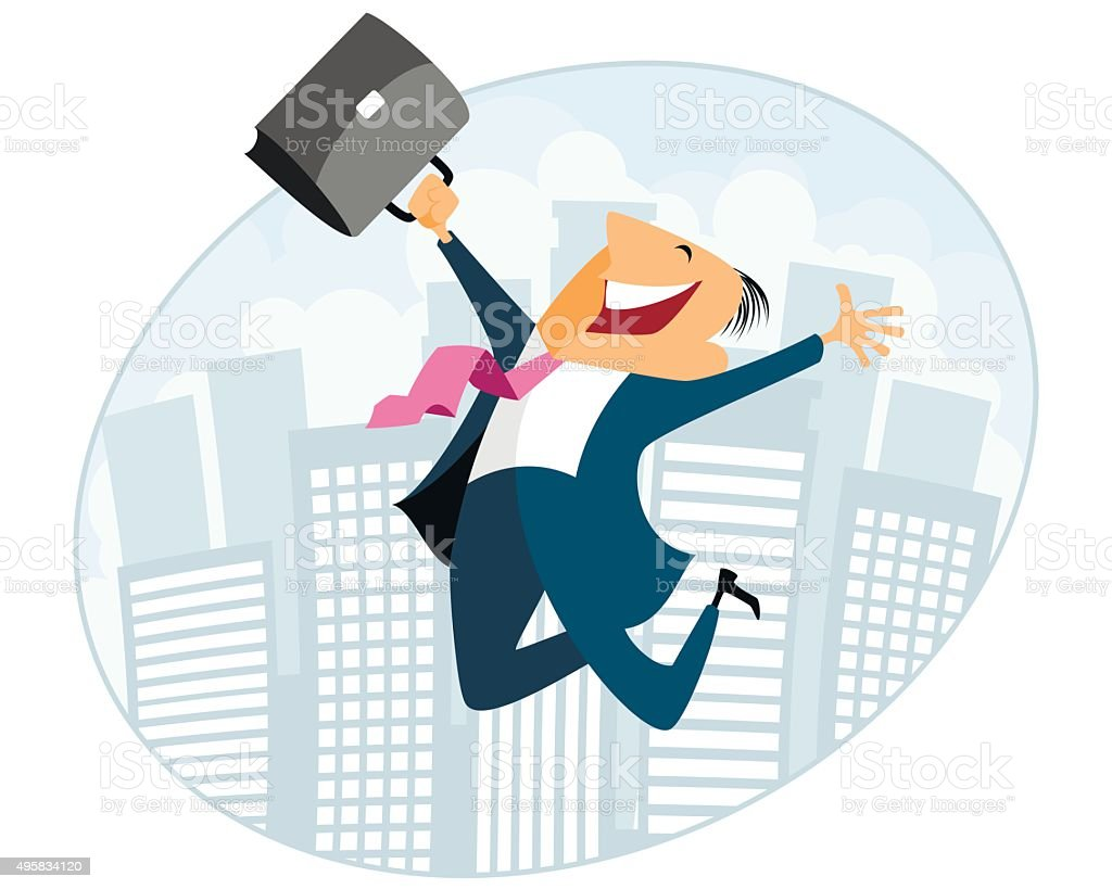 Businessman jumping with case vector art illustration
