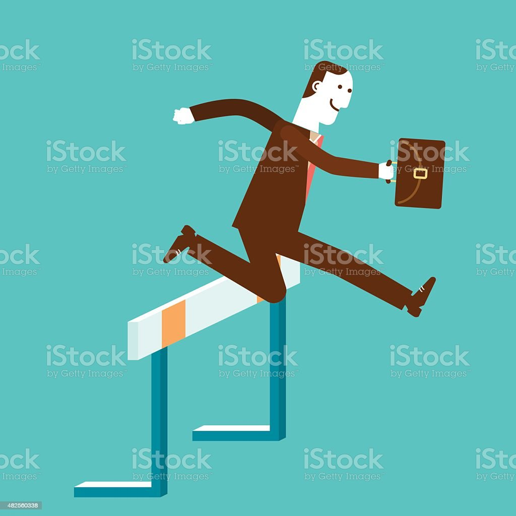 Businessman Jumps Over Hurdle | New Business Concept vector art illustration