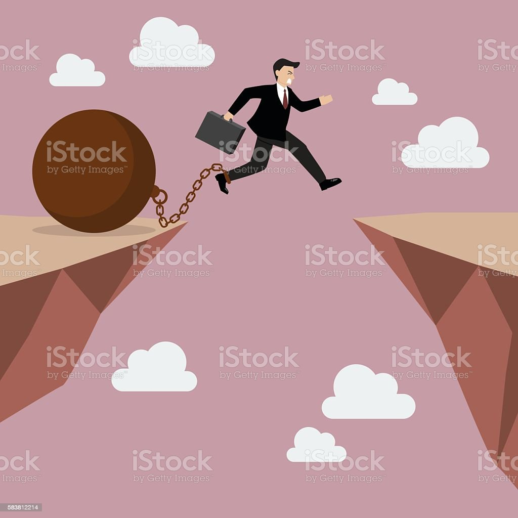 Businessman jumps the abyss with the weight vector art illustration