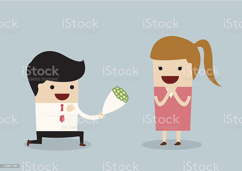 Businessman kneeling down giving flower to woman vector art illustration