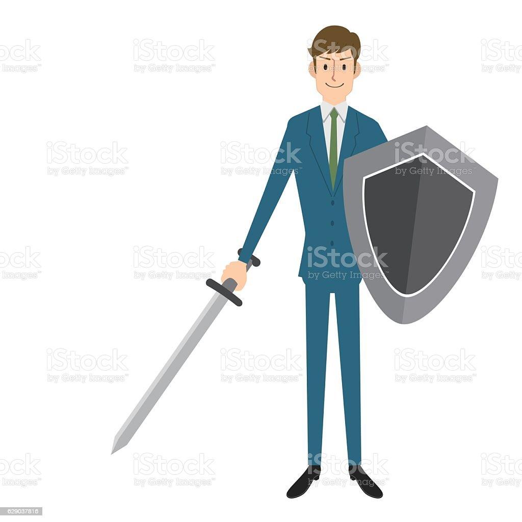 Businessman knight vector art illustration