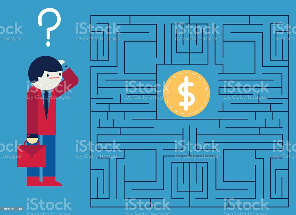 Businessman & Labyrinth vector art illustration
