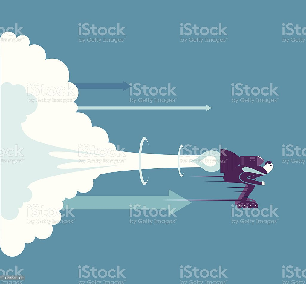 Businessman Launch vector art illustration
