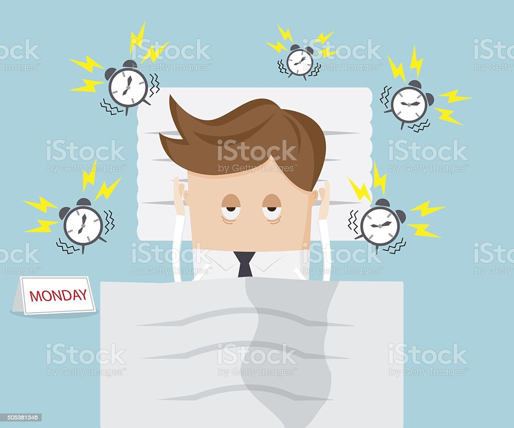 businessman lazy in bed on monday vector art illustration