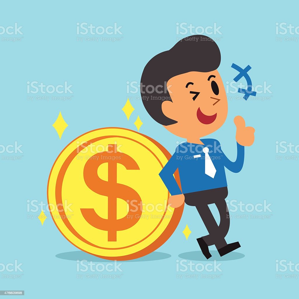 Businessman Leaning Against A Big Coin vector art illustration