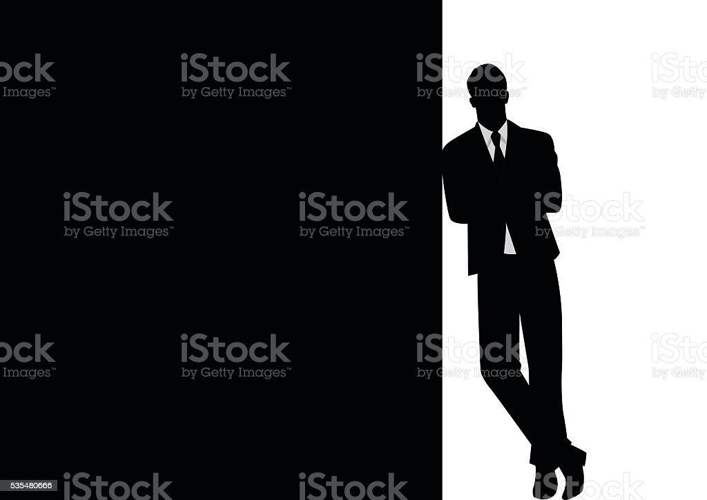 Businessman Leaning At Black Blank Space vector art illustration