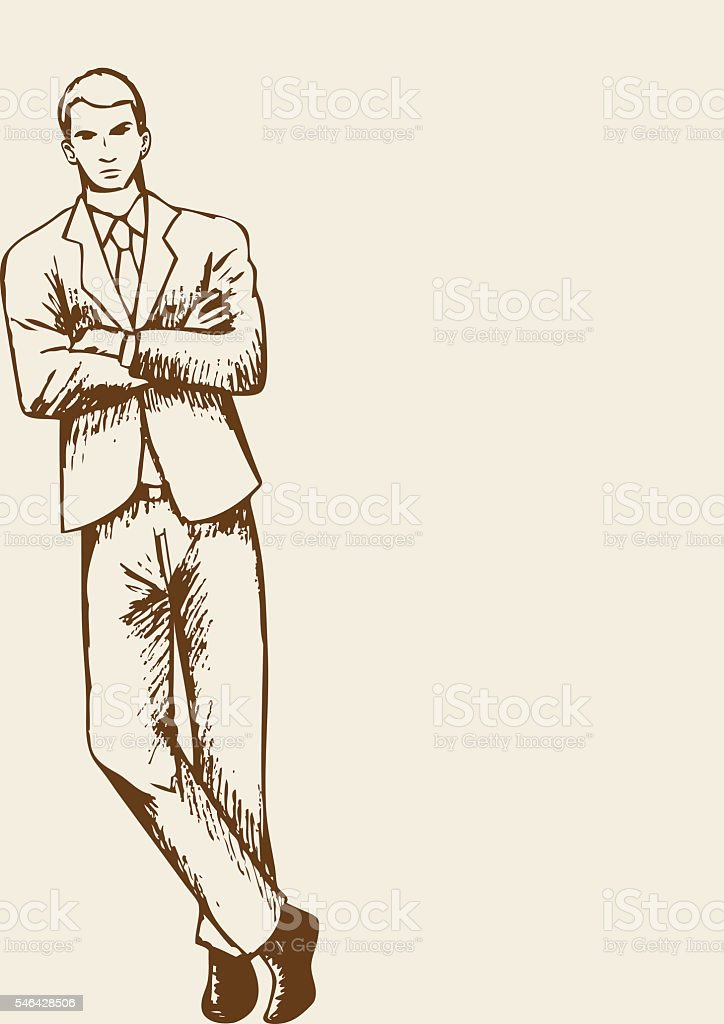 Businessman Leaning With Arm Crossed vector art illustration