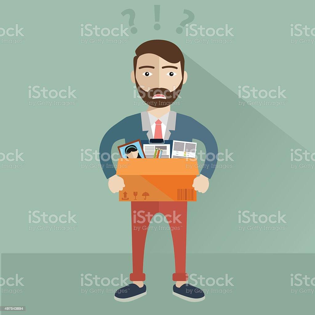 Businessman Leaving Job, fired vector vector art illustration