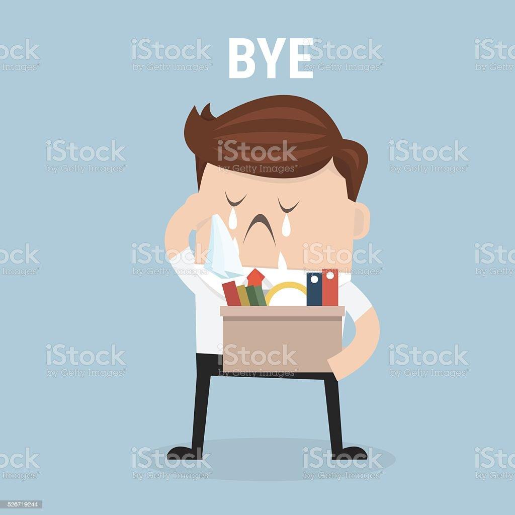 Businessman Leaving Job, vector, flat design vector art illustration