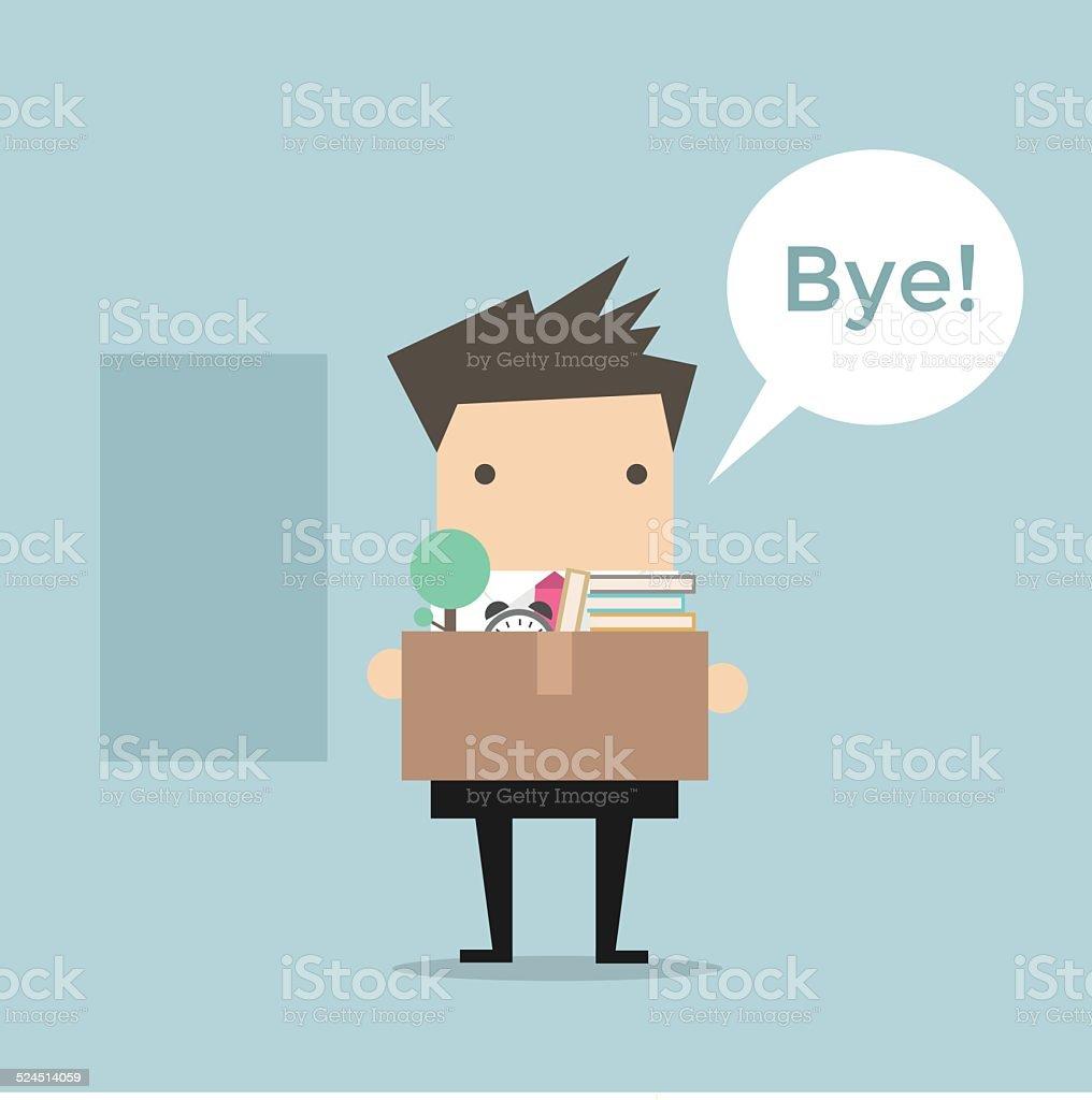 Businessman Leaving Job vector vector art illustration