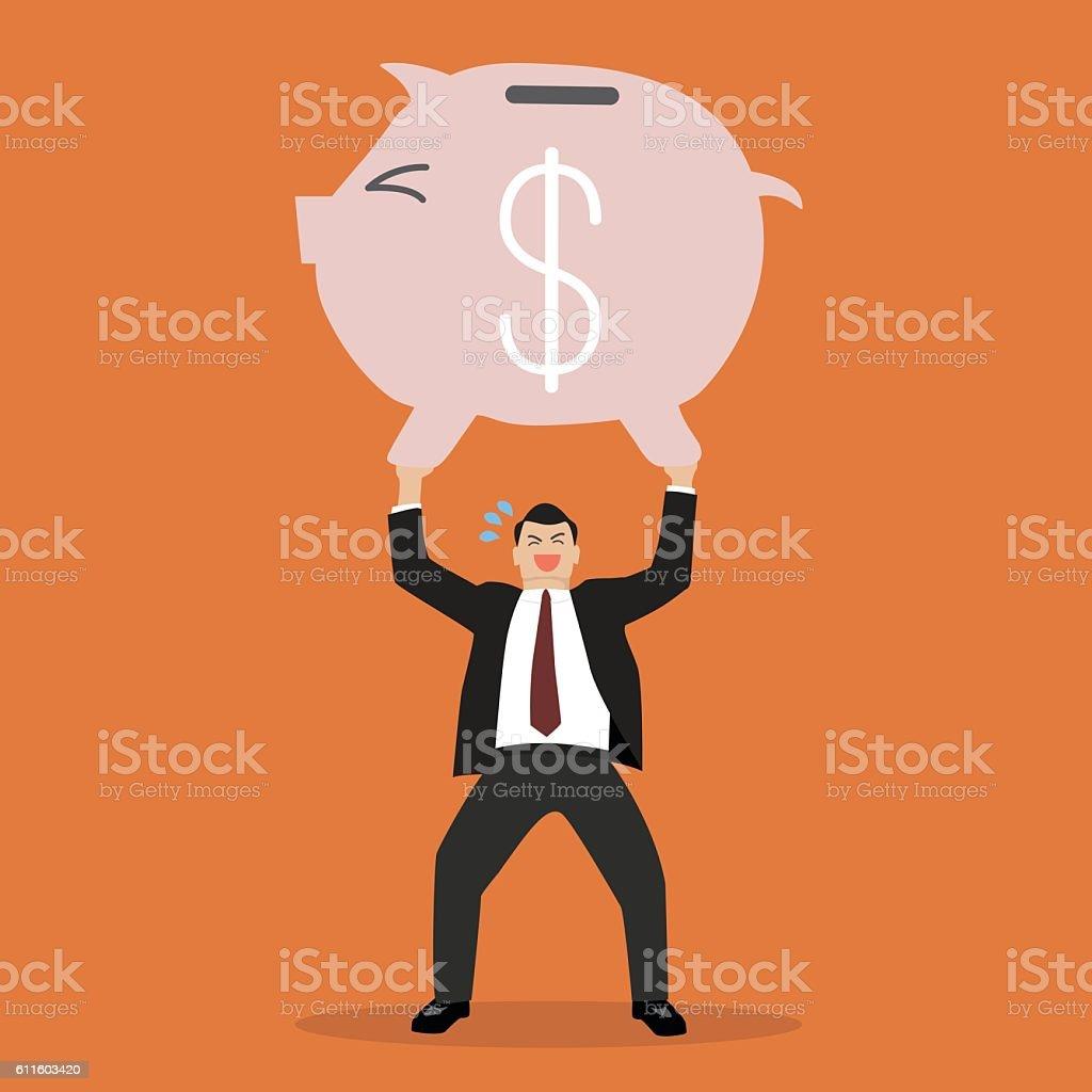 businessman lifting a piggy bank vector art illustration