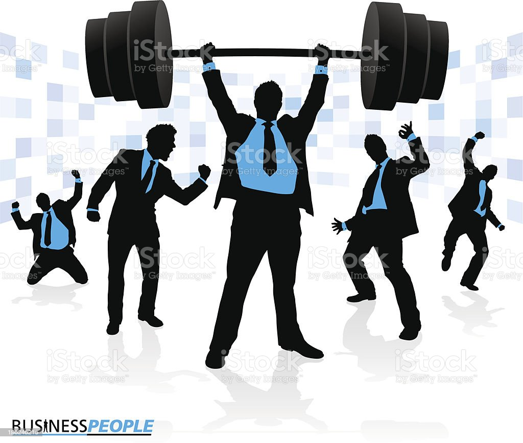 Businessman Lifting under extreme pressure royalty-free stock vector art