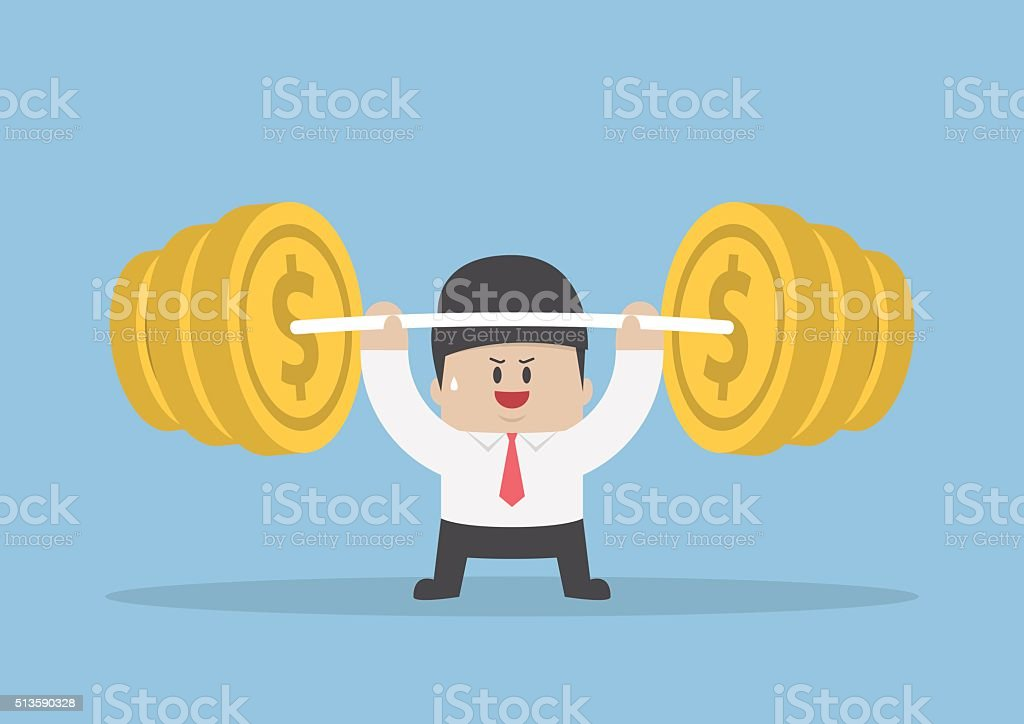 Businessman lifting up barbell with coin weight vector art illustration