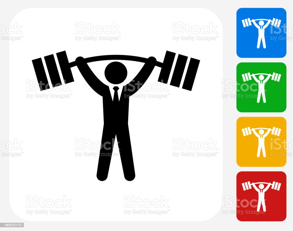 Businessman Lifting Weights Icon Flat Graphic Design vector art illustration