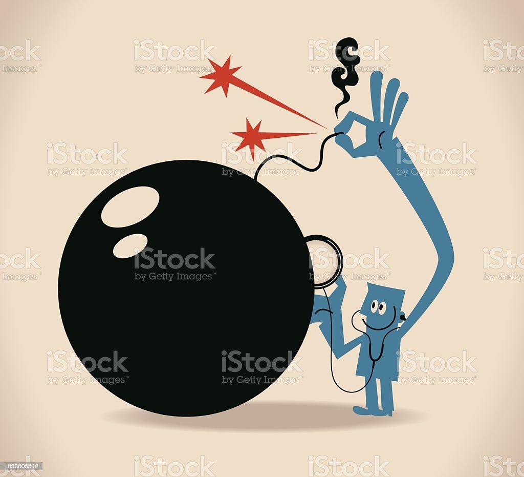 Businessman listening to bomb (crisis) through stethoscope (checking), extinguishing flame vector art illustration