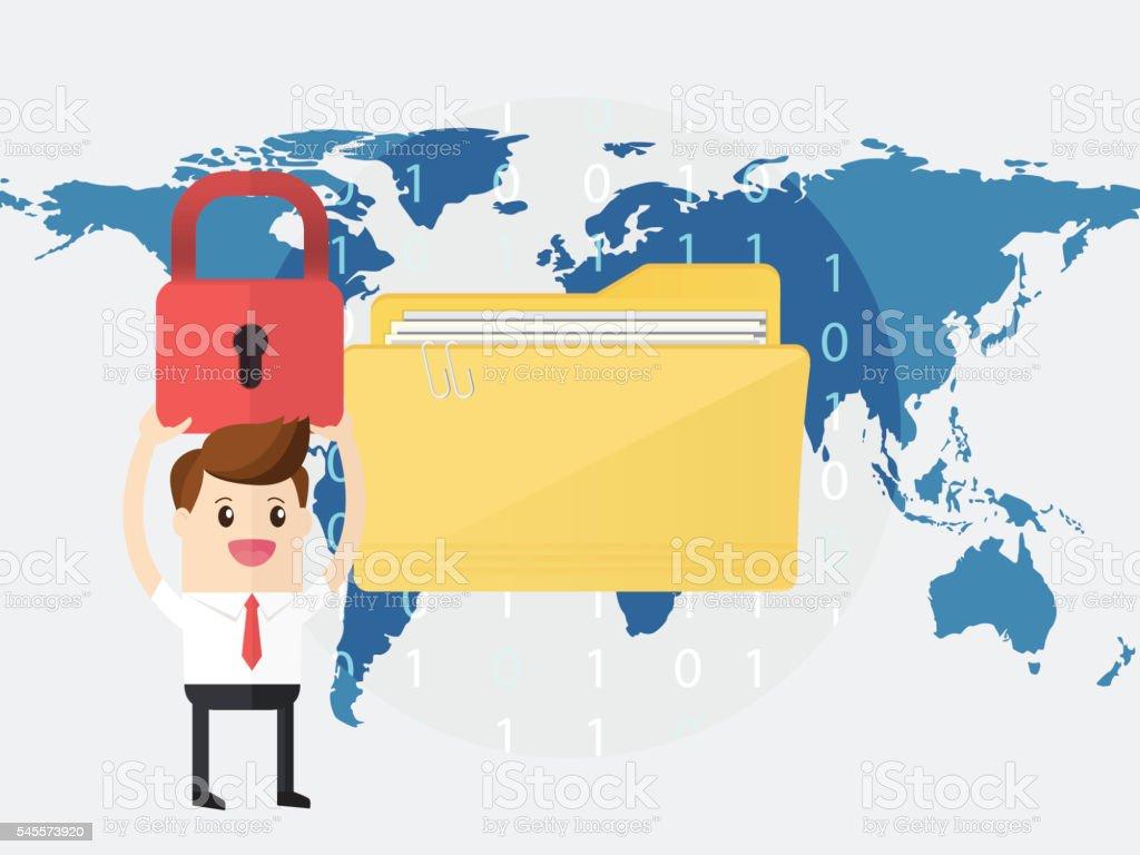 businessman lock folder protect data on world map background vector art illustration
