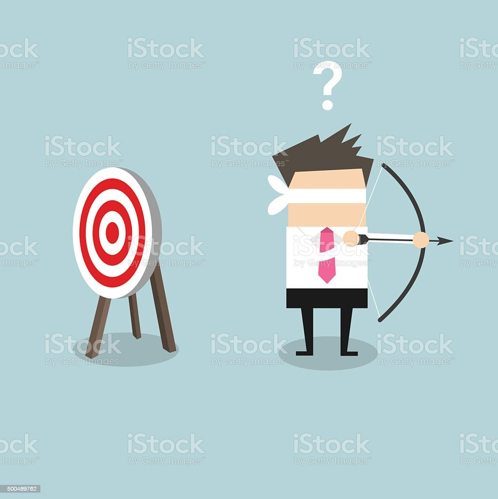 businessman look for target in wrong direction vector art illustration